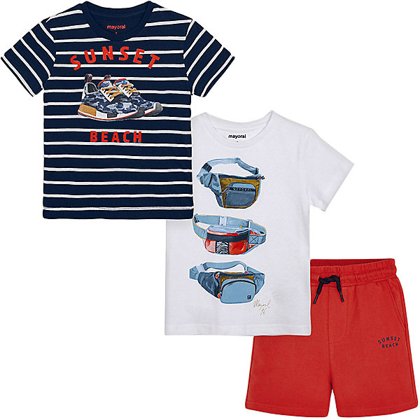 Mayoral Комплект Mayoral: футболка 2 шт и шорты mayoral mayoral комплект одежды шорты и футболка белый
