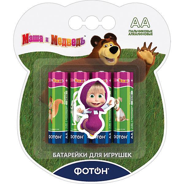 Фотон Батарейки Фотон AA (LR6) Маша и Медведь, 4 шт батарейки defender lr6 04b aa 4 шт 56028