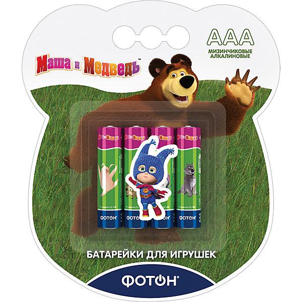 Фотон Батарейки Фотон ААА (LR03) Маша и Медведь, 4 шт батарейка фотон lr6 вp4 маша и медведь 4 шт