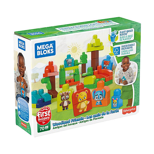 Mattel Конструктор ЭКО Mega Bloks First Builders Лесные друзья, 70 деталей mattel конструктор mega bloks любимый щенок 15 деталей