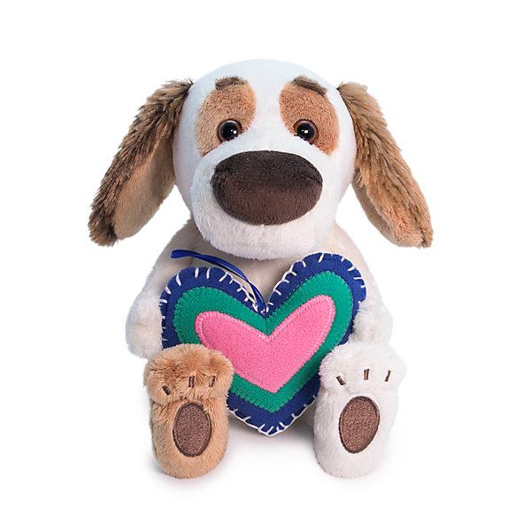 Купить Мягкая игрушка Budi Basa Собака Бартоломей baby с сердечком из флиса, 20 см, Россия, бежевый, Унисекс