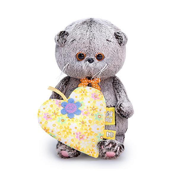 Купить Мягкая игрушка Budi Basa Кот Басик baby с желтым сердечком, 20 см, Россия, коричневый, Унисекс