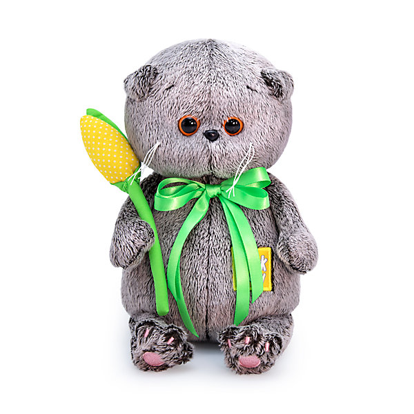 Купить Мягкая игрушка Budi Basa Кот Басик baby с желтым тюльпаном, 20 см, Россия, коричневый, Унисекс