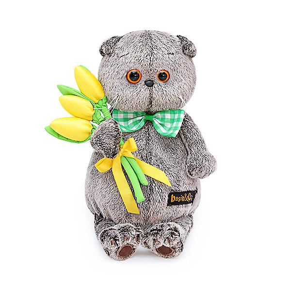 Мягкая игрушка Budi Basa Кот Басик с желтыми тюльпанами, 25 см фото