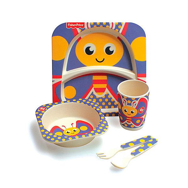 Mattel Набор детской бамбуковой посуды Fisher-Price Бабочка