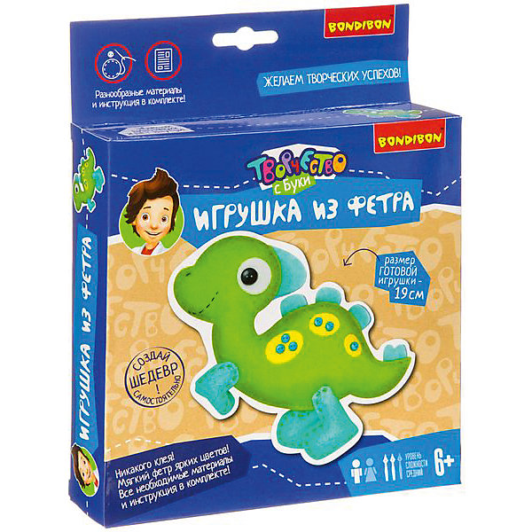 Купить Набор для творчества Bondibon Игрушка из фетра: динозаврик, Китай, разноцветный, Женский