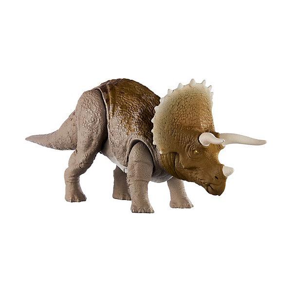 Купить Фигурка динозавра Jurrasic World Primal Attack Рычащие динозавры Трицератопс, Mattel, Китай, разноцветный, Мужской