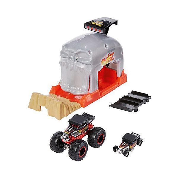 цена на Mattel Игровой набор Hot Wheels Monster Trucks Пусковой гараж Бон Шейкер
