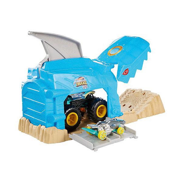 цена на Mattel Игровой набор Hot Wheels Monster Trucks Пусковой гараж Шарк Рик
