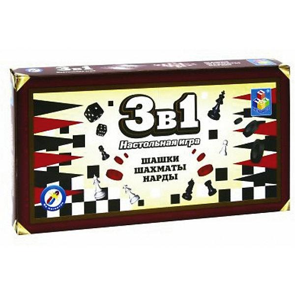 1Toy Набор настольных игр 1Toy 3в1: шашки, шахматы, нарды набор настольных игр haleyan шахматы нарды резные c араратом 40 с ручкой