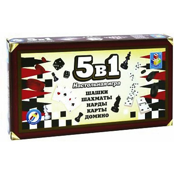 1Toy Набор настольных игр 1Toy 5в1: шашки, шахматы, нарды, карты, домино набор настольных игр haleyan шахматы нарды резные c араратом 40 с ручкой