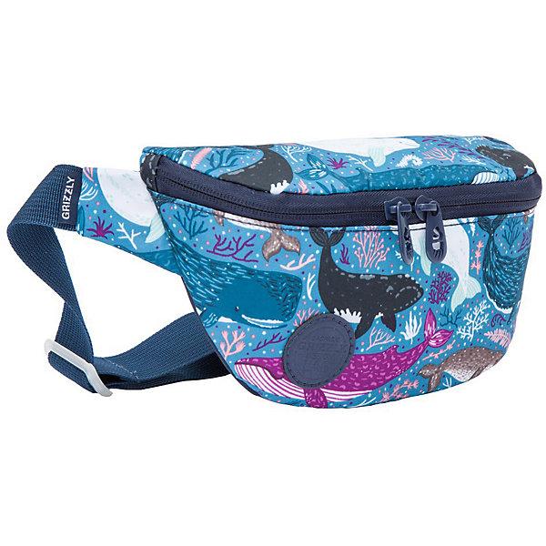 "Grizzly Поясная сумка Grizzly PS-022-21 №1 ""Киты"", малая"