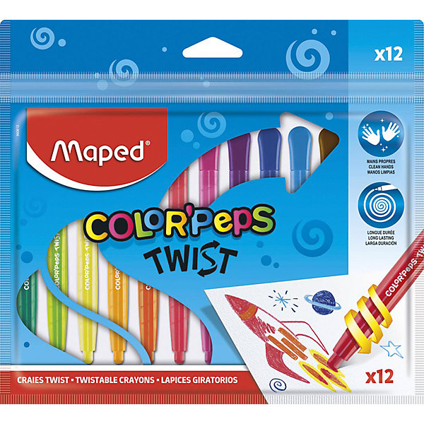 Картинка для Maped Восковые мелки Maped Color'Peps Twist, 12 цветов