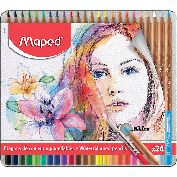 Картинка для Maped Акварельные карандаши Maped Artist с кисточкой, 24 цвета
