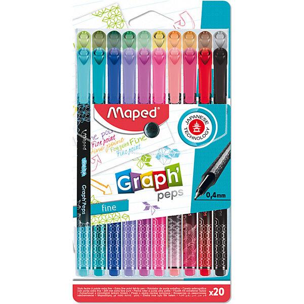 Купить Набор капиллярных ручек Maped Graph Pep's, 20 цветов, Франция, Унисекс