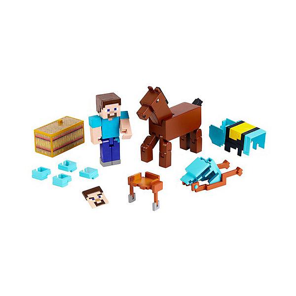 Mattel Набор фигурок Minecraft Steve and Armored Horse набор фигурок minecraft alex survival pack – series 3