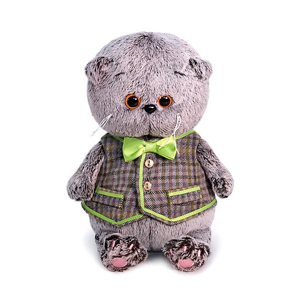 Купить Мягкая игрушка Budi Basa Кот Басик Baby в клетчатом жилете, 20 см, Россия, коричневый, Унисекс