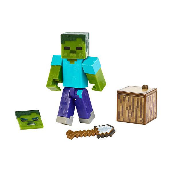 Купить Маленькая фигурка Minecraft Zombie, с артикуляцией, Mattel, Китай, разноцветный, Женский