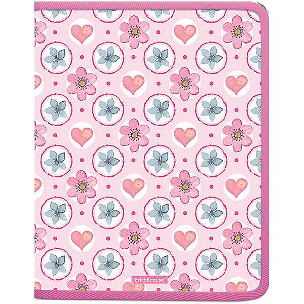 Erich Krause Папка для тетрадей на молнии Erich Krause Pink Flowers разделитель цветовой erich krause 10 цветов формат а4