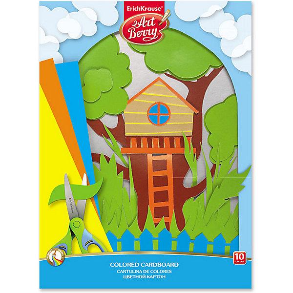 Erich Krause Цветной картон мелованный Erich Krause Art Berry, 10 цветов разделитель цветовой erich krause 10 цветов формат а4