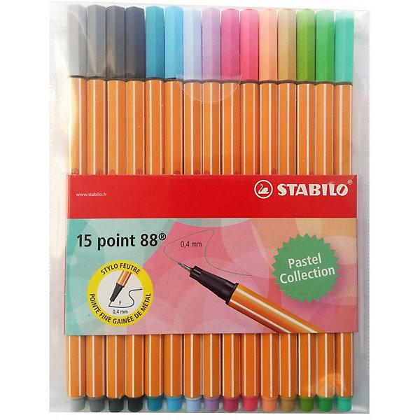 STABILO Набор капиллярных ручек Stabilo Point 88 Pastel, 15 цветов stabilo stabilo набор капиллярных ручек point 88 mini 18 цветов