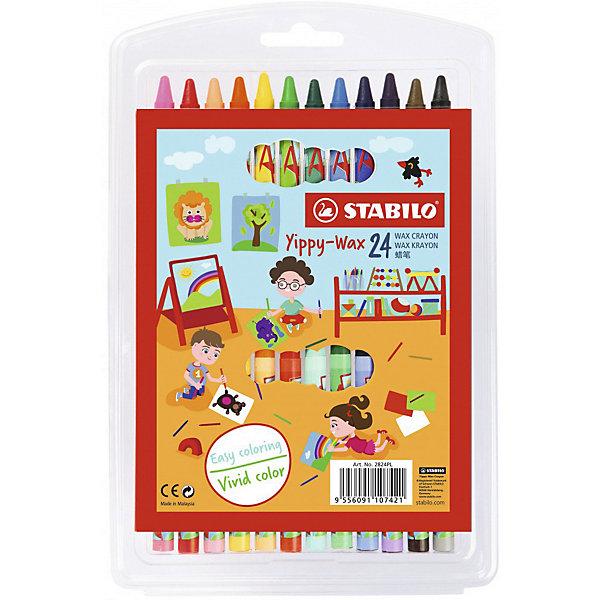 Купить Набор восковых мелков Stabilo, 24 цвета, Германия, разноцветный, Унисекс