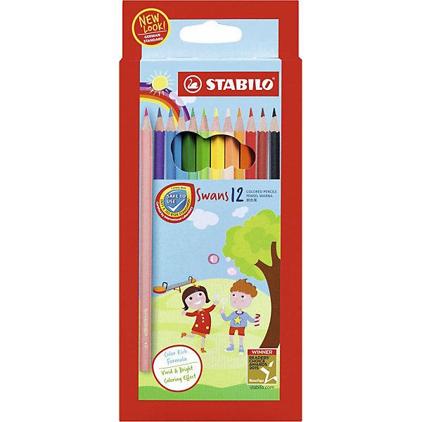 Купить Набор цветных карандашей Stabilo Swans, 12 цветов, Германия, разноцветный, Унисекс