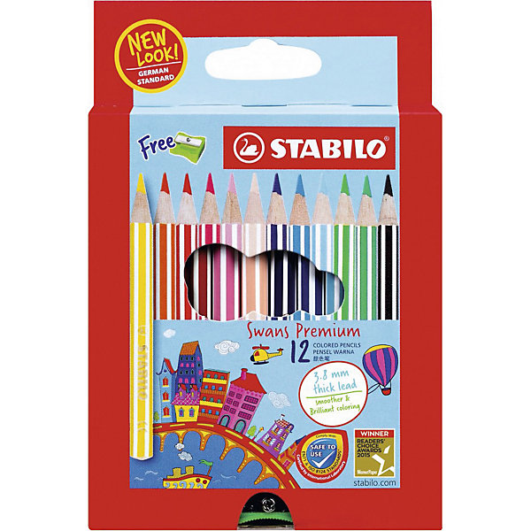 Купить Набор цветных карандашей Stabilo Swans Premium edition, 12 цветов, Германия, разноцветный, Унисекс