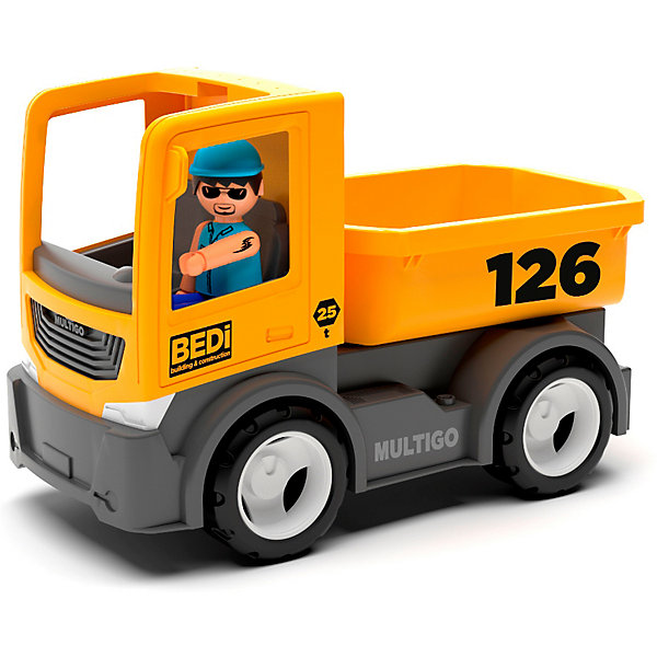 Купить Машинка Efko Строительный грузовик с водителем, 22 см, желтый, Мужской