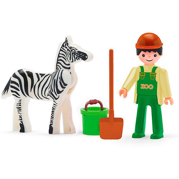 Efko Игровая фигурка Efko Сотрудник зоопарка с зеброй, 8 см, с аксессуарами efko игровая фигурка efko пожарный 8 см с аксессуарами