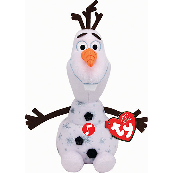 Ty Музыкальая Мягкая игрушка TY Снеговик Олаф, 23 см интерактивная игрушка олаф холодное сердце disney