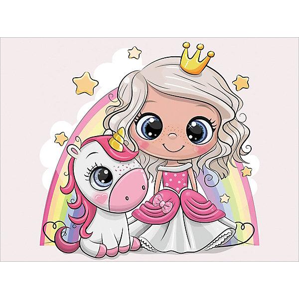 ТМ Цветной Алмазная мозаика Цветной Принцесса и единорожек алмазная мозаика тм цветной нежные цветы в белой вазе 40x50 см