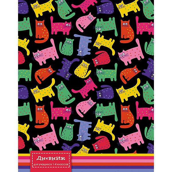 АппликА Дневник для младших классов Апплика Цветные кошки, 48 листов канцелярия апплика дневник для младших классов юный гонщик 48 листов