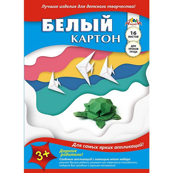 АппликА Белый картон Апплика Черепашка, А4, 16 листов