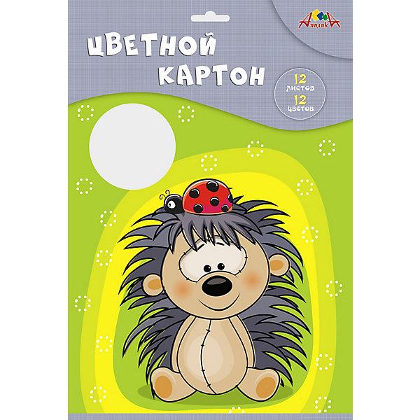 АппликА Двухсторонний цветной картон Апплика Ёжик, А4, 12 листов