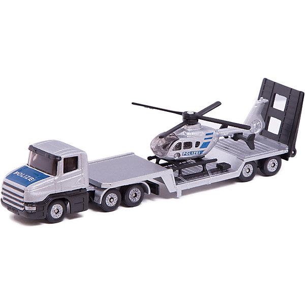 SIKU 1610 Низкорамный грузовик с вертолетомМашинки<br>SIKU (СИКУ) 1610 Низкорамный грузовик с вертолетом<br><br>Корпус тягача и прицепа выполнены из металла, лобовое и боковые стёкла из прозрачной тонированной пластмассы, колёса выполнены из пластмассы и вращаются, можно катать. Прицеп отцепляется от тягача, вертолёт снимается с прицепа.<br><br>Дополнительная информация:<br>-Размер: 16,3 x 3,6 x 4 см<br>-Материал: металл с элементами пластмассы<br><br>Полицейские машина и вертолет понравится любому мальчику, а удобная форма и размер машины позволит взять игрушку полностью в руку, что поможет тренировать координацию движения и мелкую моторику.<br><br>SIKU (СИКУ) 1610 Низкорамный грузовик с вертолетом можно купить в нашем магазине.<br>Ширина мм: 196; Глубина мм: 78; Высота мм: 40; Вес г: 129; Возраст от месяцев: 36; Возраст до месяцев: 96; Пол: Мужской; Возраст: Детский; SKU: 1503793;