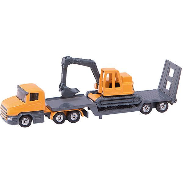 SIKU 1611 Низкорамный грузовик с экскаватором