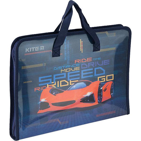 Kite Папка-портфель Kite Fast Cars, А4 папка портфель без отделений а4 серебряная с черным клапаном
