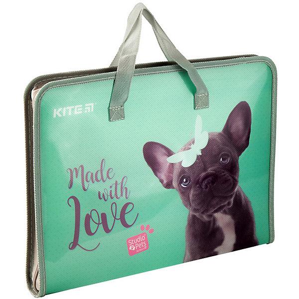 Kite Папка-портфель Kite Fast Studio Pets, А4 папка портфель без отделений а4 серебряная с черным клапаном