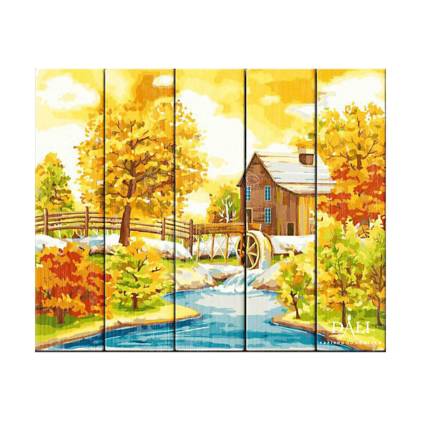 Dali Набор для раскрашивания по номерам по дереву Dali Домик с водяной мельницей деревянное панно с зеркалом glambers