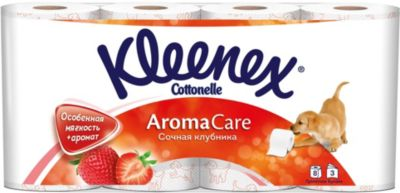 Фото - Kleenex Туалетная бумага Kleenex Сочная клубника 3 слоя, 8 шт хозяйственные товары officeclean туалетная бумага 2 слоя 4 шт