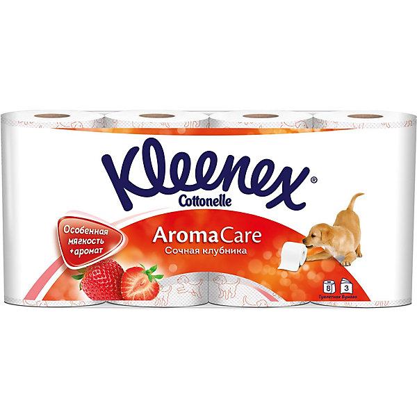 Туалетная бумага Kleenex Сочная клубника 3 слоя, 8 шт