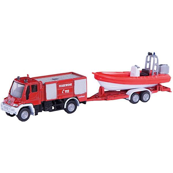 SIKU SIKU 1636 Пожарная машина Unimog с катером 1:87 siku siku 1652 лесозаготовительная машина john deere 1 87