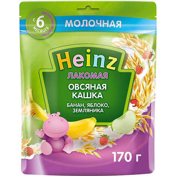 Heinz Каша Heinz Лакомая молочная овсяная яблоко банан земляника, с 6 мес