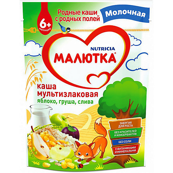 Малютка Каша Малютка молочная мультизлаковая с фруктами, с 6 мес
