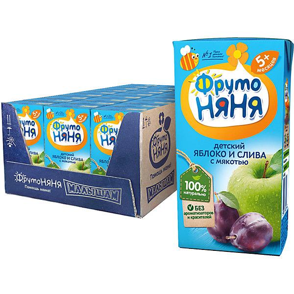 ФрутоНяня Нектар ФрутоНяНя яблоко и слива с мякотью, с 5 мес, 18 шт по 200 г