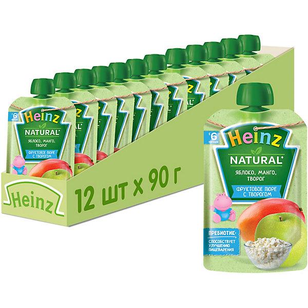 Купить Heinz - пюре яблоко, манго, творог (пауч), 6 мес., 90/12, Россия, Унисекс