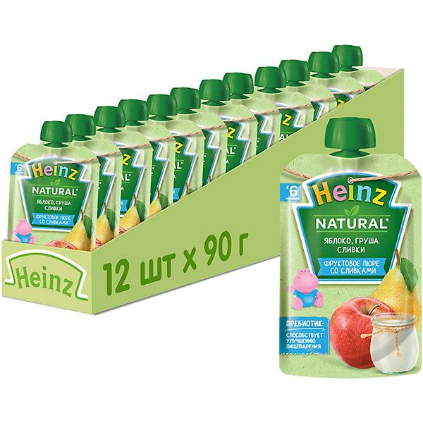 Купить Heinz - пюре яблоко, груша, сливки (пауч), 6 мес., 90/12, Россия, Унисекс