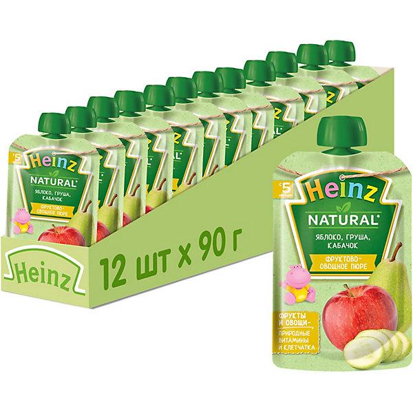 Купить Heinz - пюре яблоко, груша, кабачок (пауч), 5 мес., 90/12, Россия, Унисекс