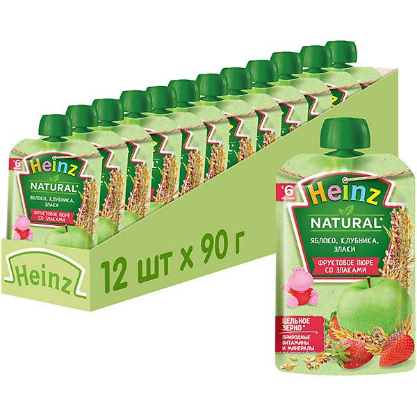 Купить Heinz - пюре яблоко, клубника и злаки (пауч), 6 мес., 90/12, Россия, Унисекс